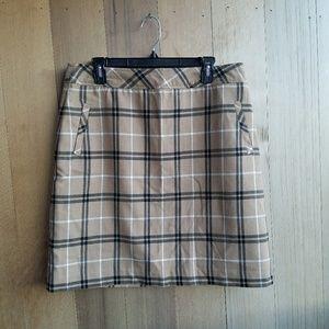 Vintage tan beige plaid pocket skirt